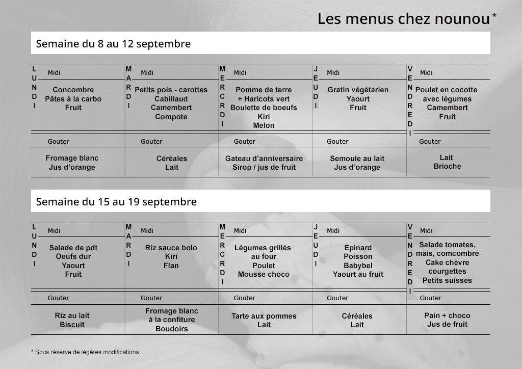 Menus du 8 au 19 septembre assistante maternelle agr e for Comfleury les aubrais code postal